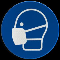 Product Mondbescherming verplicht (mondkapje of mondmasker) Pictogram M016 - Mondbescherming verplicht M016 NEN7010, veiligheidspictogram, mondbescherming, verplicht, dragen, mondkap, mondkapje, bescherming, adem