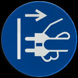 Product Uit stopcontact halen alvorens uitvoeren van werkzaamheden Pictogram M006 - Uit stopcontact halen alvorens uitvoeren van werkzaamheden M006 NEN7010, veiligheidspictogram, Stekker, uitschakelen, uithalen, stroom, verwijderen, werkzaamheden, stopcontact