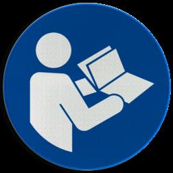 Product Instructies lezen verplicht Pictogram M002 - Instructies lezen verplicht M002 NEN7010, veiligheidspictogram, Instructie, lezen, boek, handleiding