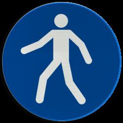 Product Verplicht looppad of oversteekplaats voor voetgangers Pictogram M024 - Verplicht looppad of oversteekplaats voor voetgangers M024 NEN7010, veiligheidspictogram, loopbrug, verplicht, gebruiken, brug, oversteken, looproute, pad, route