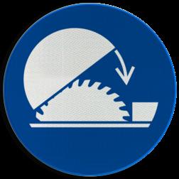 Product Gebruik cirkelzaagbescherming Pictogram M031 - Gebruik cirkelzaagbescherming M031 NEN7010, veiligheidspictogram,  Vergrendelen, afsluiten, bescherming, machine, cirkelzaag, bescherming, zagen, zaag, beschermkap, kap