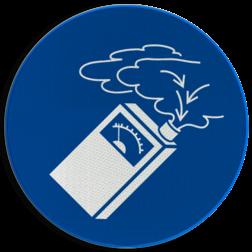 Product Gasdetectie verplicht Pictogram M048 - Gasdetectie verplicht M048 NEN7010, veiligheidspictogram, opletten, Geboden, Gas, druk, zuurstof, meten, detecteren, detectie