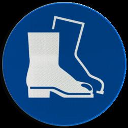 Gebodsbord M008 - Veiligheidsschoenen verplicht Gebodsbord M008 - Veiligheidsschoenen verplicht NEN7010, veiligheidspictogram, laarzen, verplicht, beschermend schoeisel, werklaarzen