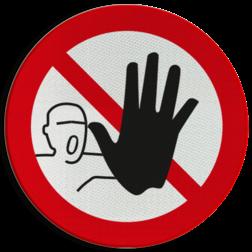 Product Verboden toegang voor onbevoegden Pictogram P000 - Verboden toegang voor onbevoegden P000 verboden, toegang, voor, onbevoegden, pictogram, symbool, teken, NEN, 7010,  reflecterend, sticker, klasse 1, klasse 3, vlak, bordje, paneel, kunststof, aluminium, veiligheid, verbod,