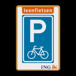Informatiebord - Parkeren Leenfietsen - ING stoep, parkeerplek, parkeerplaats, auto, electrisch, E8, volkswagen, logo, v.w.