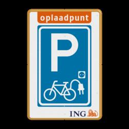 Informatiebord - Oplaadpunt Fietsen - ING stoep, parkeerplek, parkeerplaats, auto, electrisch, E8, volkswagen, logo, v.w.