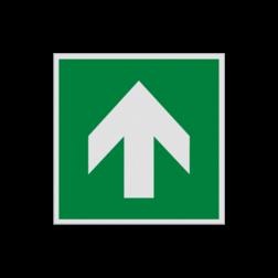 Product Richting reddingsmiddel Pictogram E005 - Richting reddingsmiddel E005 Pijl, omhoog, rechtdoor, wijzend, pijlen, vluchtroutebord, reddingsmiddelbord, evacuatie, evaluatiebord