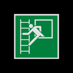 Product Vluchtraam met brandladder Pictogram E016 - Vluchtraam met brandladder E016 Brand, vuur, trap, hulp, help, brandweer, vuur, evacuatievenster, vluchtraam, vluchtroutebord, reddingsmiddelbord, evacuatie, evaluatiebord