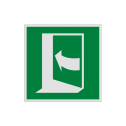 Product Deur opent door links te drukken Pictogram E022 - Deur opent door links te drukken E022 vluchten, deuren, rechter escape, vluchtdeur, vluchtroutebord, reddingsmiddelbord, evacuatie, evaluatiebord