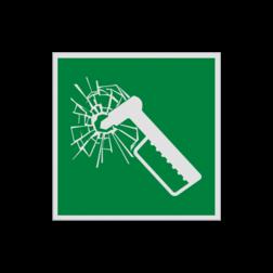 Product Noodhamer Pictogram E025 - Noodhamer E025 Nood, hamer, glas, breken, uitbreken, vluchtroutebord, reddingsmiddelbord, evacuatie, evaluatiebord