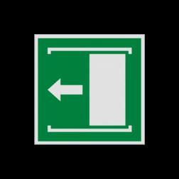 Product Deur naar links schuiven om te openen Pictogram E034 - Deur naar links schuiven om te openen E034 Open, schuifdeur, openen, links, vluchtroutebord, reddingsmiddelbord, evacuatie, evaluatiebord