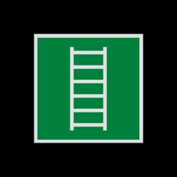 Product Vluchtladder Pictogram E059 - Vluchtladder E059 Ladder, brandtrap, vluchten, vluchtroutebord, reddingsmiddelbord, evacuatie, evaluatiebord