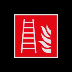 Product Ladder Haaks bord F003 - Ladder F003 Brand, trap, locatie, vuur, blussen, vluchten, brandblusapparaat, blusmiddel, Blusapparaatpicto, Brandbestrijdingsteken, brandbestrijdingspicto, poederblusser, schuimblusser, Koolzuursneeuwblusser