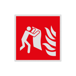 Product Brandblusdeken Haaks bord F016 - Brandblusdeken F016 Brand, trap, locatie, vuur, blussen, vluchten, brandblusapparaat, blusmiddel, Blusapparaatpicto, Brandbestrijdingsteken, brandbestrijdingspicto, poederblusser, schuimblusser, Koolzuursneeuwblusser