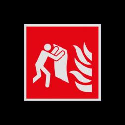 Product Brandblusdeken Pictogram F016 - Brandblusdeken F016 Brand, trap, locatie, vuur, blussen, vluchten, Brandblusdeken, blusdeken, Brandbestrijdingsteken, brandbestrijdingspicto