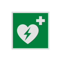 Product AED aanwezig Pictogram E010 - AED E010 hartmachine, automatische externe defribillator, defribilator, vluchtroutebord, reddingsmiddelbord, evacuatie, evaluatiebord