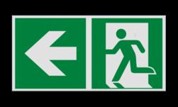 Product Nooduitgang links met pijl Haaks bord E001 - Nooduitgang links met pijl Nooduitgang, vluchtroute, route, deur, rechts, vluchtroutebord, reddingsmiddelbord, evacuatie, evaluatiebord