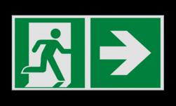 Product Nooduitgang rechts met pijl Haaks bord E002 - Nooduitgang rechts met pijl Nooduitgang, vluchtroute, route, deur, rechts, vluchtroutebord, reddingsmiddelbord, evacuatie, evaluatiebord
