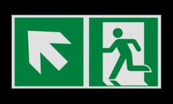 Product Nooduitgang links naar boven met pijl Haaks bord E001 - Nooduitgang links naar boven met pijl Nooduitgang, vluchtroute, route, deur, rechts, vluchtroutebord, reddingsmiddelbord, evacuatie, evaluatiebord