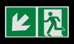 Product Nooduitgang links naar beneden met pijl Haaks bord E001 - Nooduitgang links naar beneden met pijl Nooduitgang, vluchtroute, route, deur, rechts, vluchtroutebord, reddingsmiddelbord, evacuatie, evaluatiebord