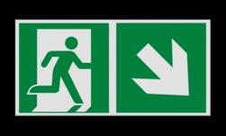 Product Nooduitgang rechts naar beneden met pijl Haaks bord E002 - Nooduitgang rechts naar beneden met pijl Nooduitgang, vluchtroute, route, deur, rechts, vluchtroutebord, reddingsmiddelbord, evacuatie, evaluatiebord