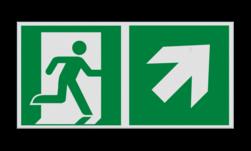 Product Nooduitgang rechts naar boven met pijl Haaks bord E002 - Nooduitgang rechts naar boven met pijl Nooduitgang, vluchtroute, route, deur, rechts, vluchtroutebord, reddingsmiddelbord, evacuatie, evaluatiebord
