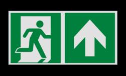 Product Nooduitgang rechtdoor met pijl Haaks bord E002 - Nooduitgang rechtdoor met pijl Nooduitgang, vluchtroute, route, deur, rechts, vluchtroutebord, reddingsmiddelbord, evacuatie, evaluatiebord