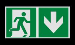 Product Nooduitgang naar beneden met pijl Haaks bord E002 - Nooduitgang naar beneden met pijl Nooduitgang, vluchtroute, route, deur, rechts, vluchtroutebord, reddingsmiddelbord, evacuatie, evaluatiebord