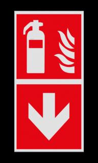 Product F001 - Richting blusapparaat Pictogram F001 - Richting blusapparaat Brand, trap, locatie, vuur, blussen, vluchten, brandblusapparaat, blusmiddel, Blusapparaatpicto, Brandbestrijdingsteken, brandbestrijdingspicto