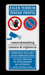 Product Parkeerverbod + camerabewaking - verboden toegang EIGEN TERREIN bord 2-talig | Papiaments parkeren, eigen terrein, E01, E1, camerabewaking, Papiaments