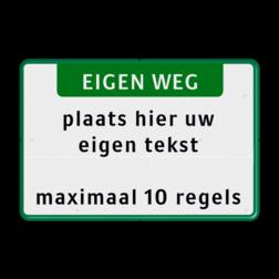 Tekstbord landscape 3:2 met banner - groen zelf tekstbord maken, tekst invoeren, verkeersbord, onderbord