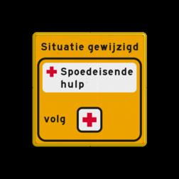 Tekstbord  WIU geel/zwart - 1:1 Spoedeisende Hulp Tekstbord, WIU bord, tijdelijke verkeersmaatregelen, werk langs de weg, omleidingsborden, tijdelijk bord, werk in uitvoering, 3 regelig bord, J16