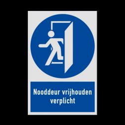 Product MG30 - Nooddeur vrijhouden verplicht Pictogram MG30 - Nooddeur vrijhouden verplicht NEN7010, veiligheidspictogram, Gebodspictogram, Nooddeur, nooduitgang, deur, uitgang,