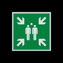 Product Verzamelplaats Pictogram E007 - Verzamelplaats E007 Vlucht, Vluchtroute, verzamelplaats, verzamelbord, verzamelen, calamiteiten, BHV, verzamelpunt, Eigen Terrein, BT34, vluchtroutebord, reddingsmiddelbord, evacuatie, evaluatiebord