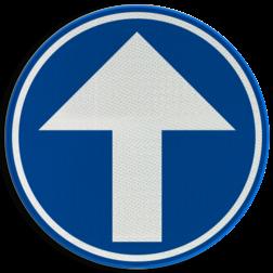 Verkeersbord D1a: Verplichting de door de pijl aangeduide richting te volgen. (hier rechtdoor) Verkeersbord België D1a - Verplichting rechtdoor D1a Rechtdoor, rijrichting, bord, D04, verplichte rijrichting