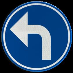 Verkeersbord D1e: Verplichting de door de pijl aangeduide richting te volgen (hier links) Verkeersbord België D1e - Verplichting de door de pijl aangeduide richting te volgen (hier links) D1e Rijrichtings bord, D05l, verplichte rijrichting