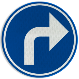 Verkeersbord D1f: Verplichting de door de pijl aangeduide richting te volgen (hier rechts) Verkeersbord België D1f - Verplichting de door de pijl aangeduide richting te volgen (hier rechts) D1f Rijrichtings bord, D05r
