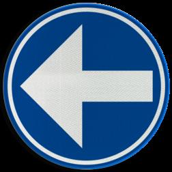 Verkeersbord D1b: Verplicht de door de pijl aangeduide richting te volgen. (hier links) Verkeersbord België D1b-links - Verplicht links afslaan D1b Rijrichtingsbord, D02l, linkerbaan, links aanhouden, verplicht, afslaan