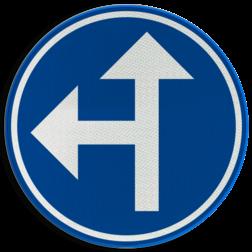 Verkeersbord D03a: Verplichting één van de door de pijlen aangeduide richtingen te volgen (hier rechtdoor of links) Verkeersbord België D3a - Verplichting één van de door de pijlen aangeduide richtingen te volgen D3a D06l, rijrichting, bord, richting volgen