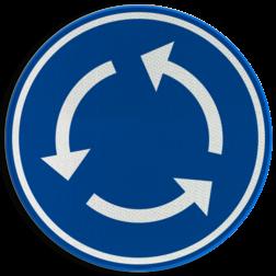 Verkeersbord D05: Verplicht rondgaand verkeer Verkeersbord België D5 - Rotonde - Verplicht rondgaand verkeer D5 rotondebord, 3 pijlen, rond blauw bord, D01, rotonde