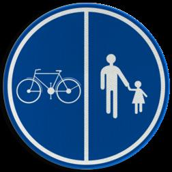 Verkeersbord D09a: Deel van de openbare weg voorbehouden voor het verkeer van voetgangers, van fietsen en van tweewielige bromfietsen klasse A. Verkeersbord België D9a - Deel van de weg voorbehouden voor voetgangers en fietsen D9a Openbare weg, voetgangers, fietsers, bromfietsen, vrij houden