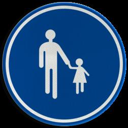 Verkeersbord D11: Verplichte weg voor voetgangers Verkeersbord België D11 - Verplichte weg voor voetgangers D11 Voetgangers, wegen, verplicht, rond bord blauwe rand, voetpad