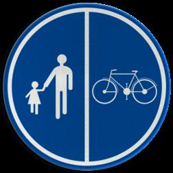 Verkeersbord D09b: Deel van de openbare weg voorbehouden voor het verkeer van voetgangers, van fietsen en van tweewielige bromfietsen klasse A Verkeersbord België D9b - Deel van de weg voorbehouden voor voetgangers en fietsen D9b Openbare weg, voetgangers, fietsers, bromfietsen, vrij houden