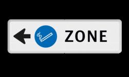 Routebord pijl - ROOKZONE + eigen tekst routebord, camping, eigen terrein, bezoekers