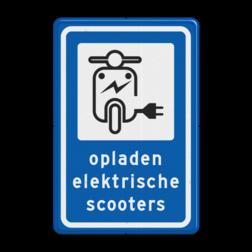 Informatiebord Oplaadpunt elektrische scooter Informatiebord - Oplaadpunt elektrische scooters elektrische, voertuigen, groene stroom,  BW101, fietslaadpunt, laadpunt, fietsen, oplaadpunt, laadpaal, oplaadpalen, oplaadbaar, ebike, bike, stalling, BE, BE03, scooter, brom, bromfiets, brommer,