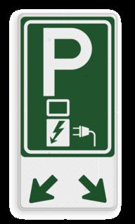 Verkeersbord Parkeerplaats met oplaad punt - Parkeergelegenheid alleen bestemd voor elektrische voertuigen Verkeersbord E08o - afwijkende kleur - oplaadpunt Wit / blauwe rand, (RAL 5017 - blauw), BW101 SP19 - autolaadpunt, autolaadpunt, na 25 km, oplaadpalen, oplaadpaal, BE04