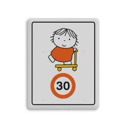 Dick Bruna - Attentiebord Snelheid - joep op de step Nijntje, schoolzone, vvn, a1-30, maximum snelheid, 30 kilometer, Miffy