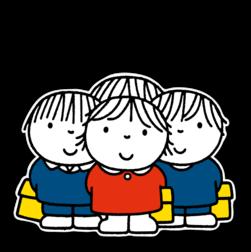 Dick Bruna - Silhouetbord groepje kinderen Nijntje, vvn, school, schoolzone, kinderdagverblijf, crèche, creche, Miffy, Silhouet,