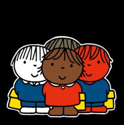 Dick Bruna - Silhouetbord groepje kinderen - Multicultureel Nijntje, vvn, school, schoolzone, kinderdagverblijf, crèche, creche, Miffy, Silhouet,