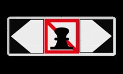 Scheepvaartbord Verboden ligplaats te nemen (ankeren en meren) aan de zijde van de pijl + richtingaanduiding met zijborden. Zijborden of puntborden worden links of rechts aan een hoofdteken toegevoegd. Scheepvaartbord BPR A. 7 + 2x F.2a - Verboden ligplaats te nemen (ankeren en meren) aan de zijde van de pijl aanmeren, schip, A7, aanleggen, F2a, verbodstekens, verbodsborden, waterweg, waterwegen, scheepvaarttekens, verkeerstekens, richting